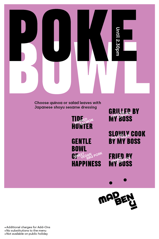 Poke bowls available until 2.30pm